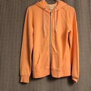 Neon Orange Zip Up Sweatshirt